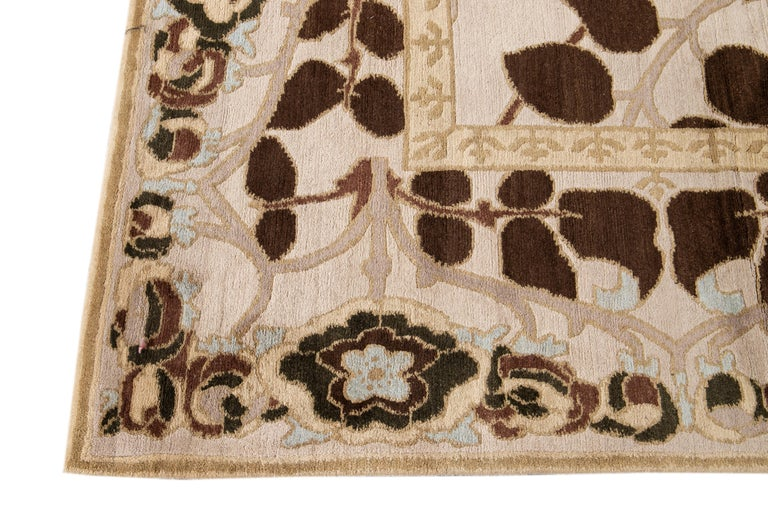 Hand-Knotted Beige Modern Art & Crafts Style Tibetan Wool Rug For Sale