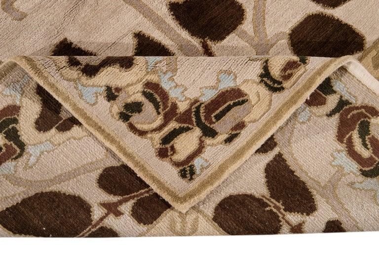 Beige Modern Art & Crafts Style Tibetan Wool Rug In New Condition For Sale In Norwalk, CT