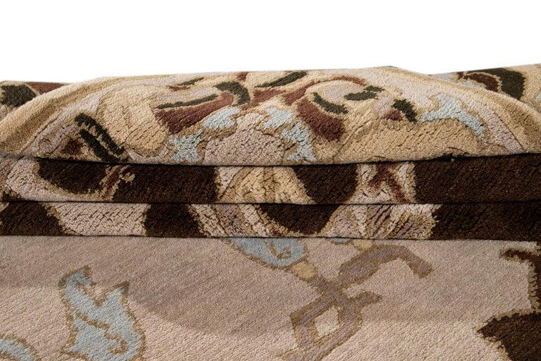 Contemporary Beige Modern Art & Crafts Style Tibetan Wool Rug For Sale