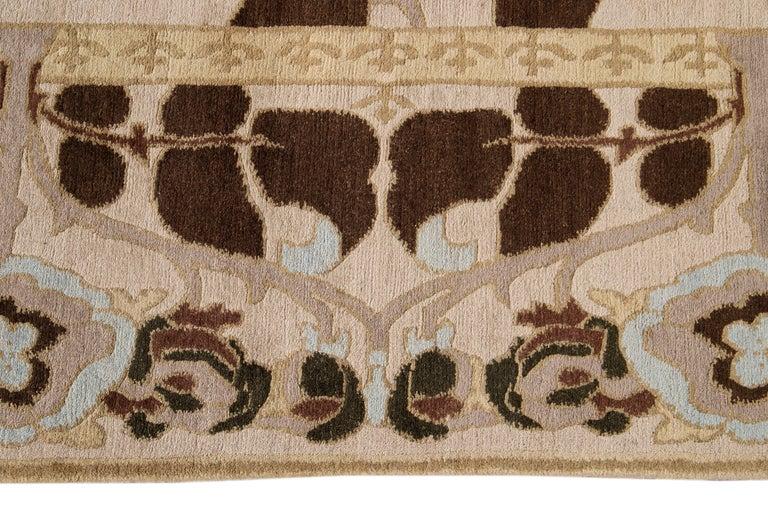 Beige Modern Art & Crafts Style Tibetan Wool Rug For Sale 1