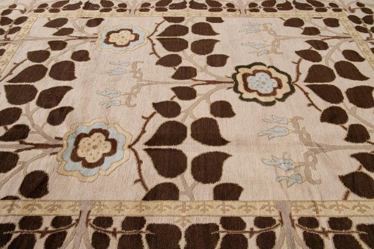 Beige Modern Art & Crafts Style Tibetan Wool Rug For Sale 2