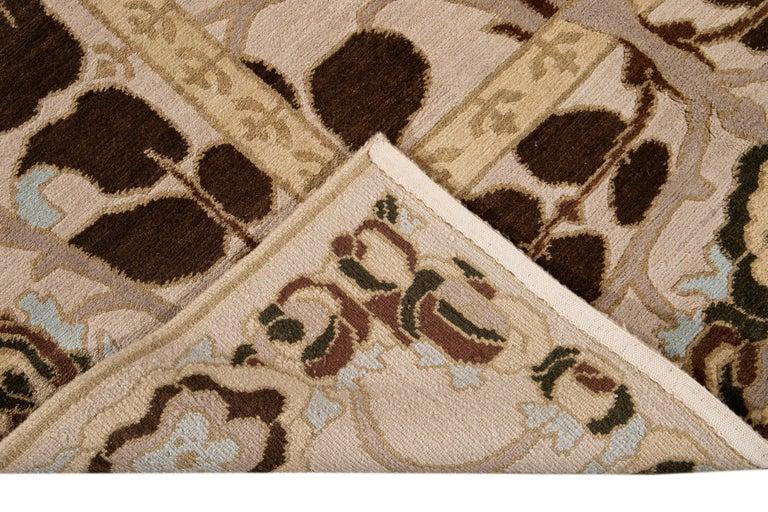 Beige Modern Art & Crafts Style Tibetan Wool Rug For Sale 3