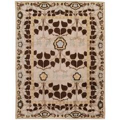 Beige Modern Art & Crafts Style Tibetan Wool Rug