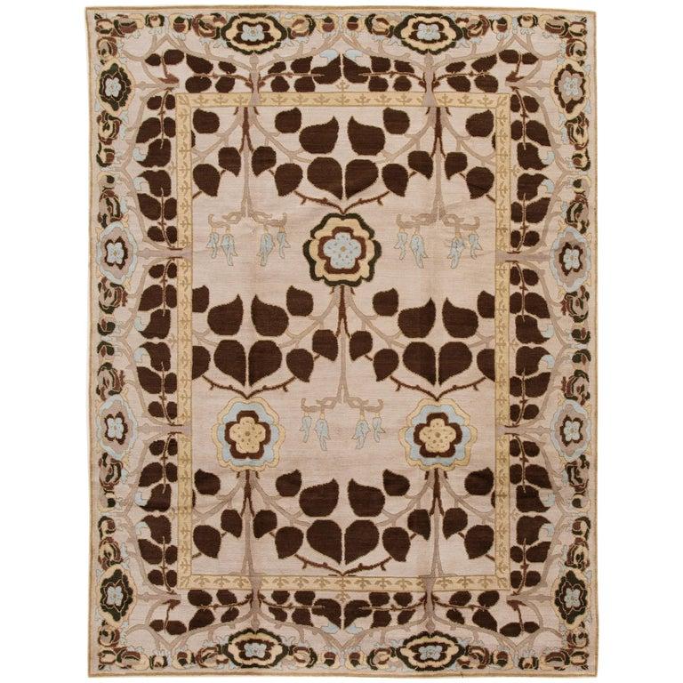 Beige Modern Art & Crafts Style Tibetan Wool Rug For Sale