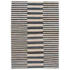 Beige Modern Flat-Weave Handmade Wool Rug