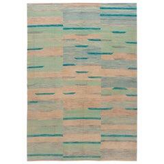 Beige Modern Flat-Weave Kilim Handmade Wool Rug