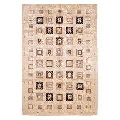 Beige Modern Geometric Gabbeh Handmade Wool Rug