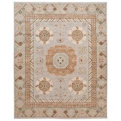 Beige Modern Khotan Style Handmade Wool Rug
