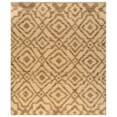 Beige Modern Kilim Handmade Wool Rug