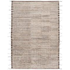 Beige Modern Moroccan-Style Berber Rug