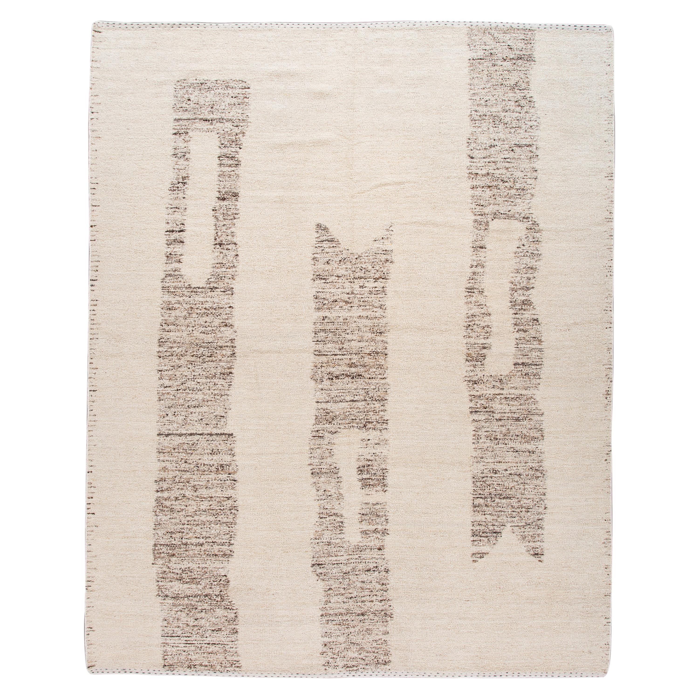 Beige Modern Moroccan Style Geometric Wool Rug