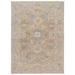 Beige Modern Sultanabad Handmade Floral Wool Rug