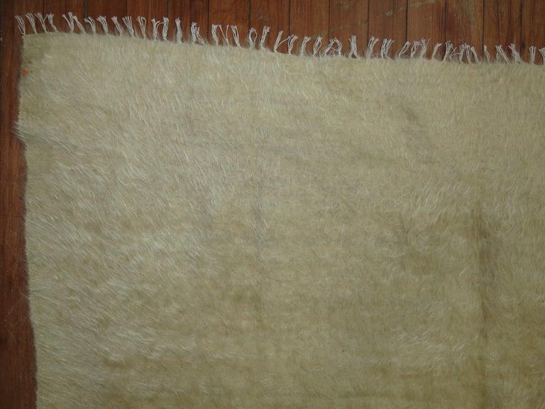 Organic Modern Beige Mohair Rug For Sale