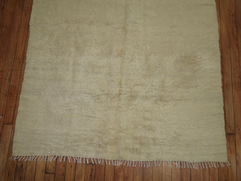 Hand-Woven Beige Mohair Rug For Sale