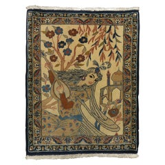 Beige Navy Handwoven Persian Nain Pictorial Lady with a Banjo Rug