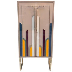 Beige Opaline Glass Cabinet with Multicolored Opaline Glass Inserts, 1980s
