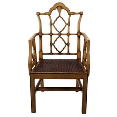 Beige Painted Chinese Chippendale Style Armchair