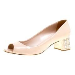 Beige Patent Leather Crystal Embellished Block Heel Peep Toe Pumps Size 40