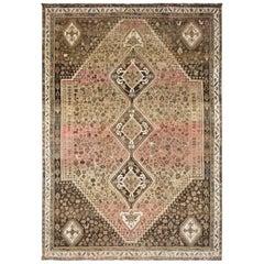 Beige Persian Shiraz Vintage Worn Down Bohemian Handmade Wool Rug