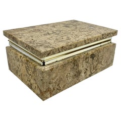 Beige Rectangular Stone Box with Silvered Frame