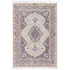 Beige Silk Qum Persian Signed 600 KPSI Hand Knotted Oriental Rug