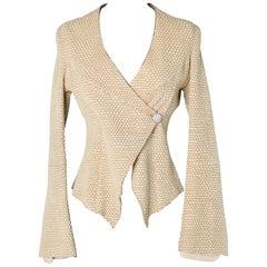 Beige snakeskin effect vintage leather jacket, Armani