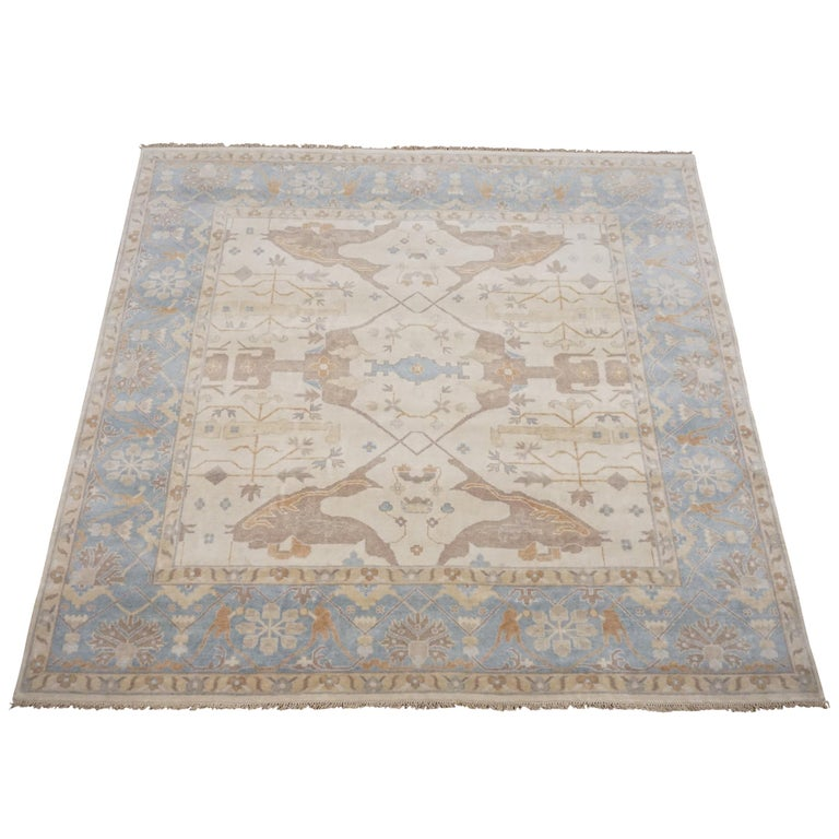 10x10 Square New Oushak Oriental Wool Area Rug: Beige Square Oushak Design Area Rug For Sale At 1stdibs