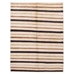 Beige Striped Modern Gabbeh Handmade Wool Rug