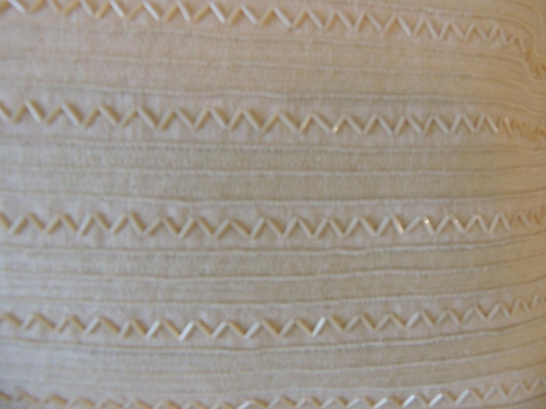 Country Beige Tone-On-Tone Beaded Modern Lumbar Decorative Pillow For Sale