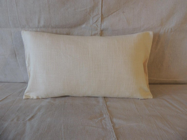 Hand-Crafted Beige Tone-On-Tone Beaded Modern Lumbar Decorative Pillow For Sale