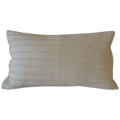 Beige Tone-On-Tone Beaded Modern Lumbar Decorative Pillow