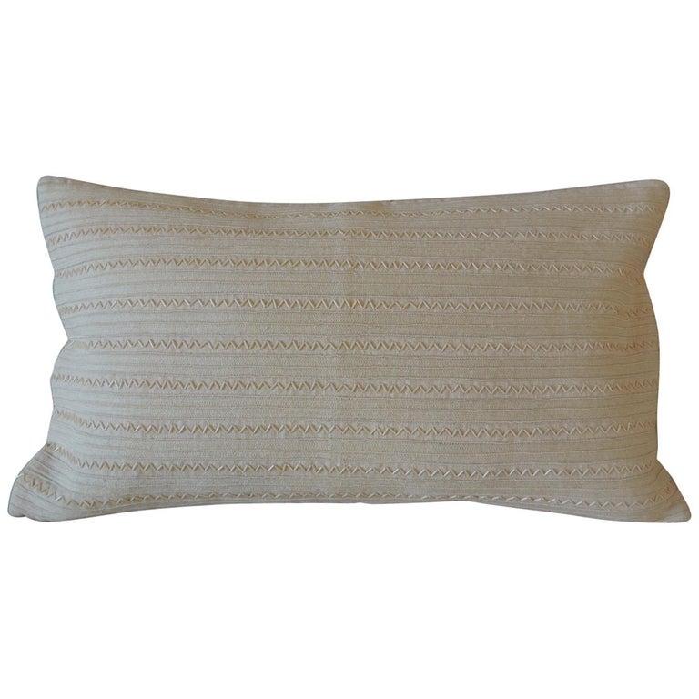 Beige Tone-On-Tone Beaded Modern Lumbar Decorative Pillow For Sale