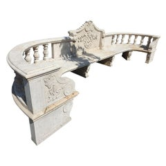 Beige Travertine Giant Garden Bench Baroque Style