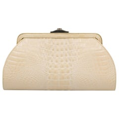 Beige Ultimo Crocodile Clutch