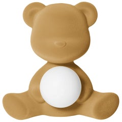 Beige Velvet Teddy Bear Lamp with LED by Stefano Giovannoni, Made in Italy