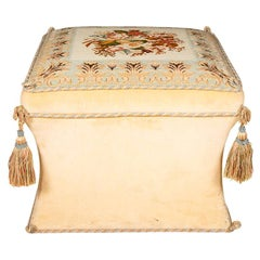 Beige Velvet Upholstered Victorian Style Ottoman With Needlework Seat