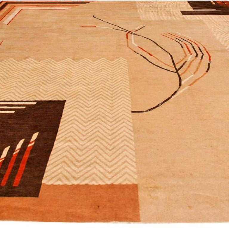 French Vintage Art Deco Camel, Beige & Brown Handwoven Wool Rug For Sale