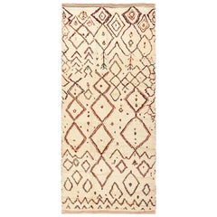 Beige Vintage Beni Ourain Moroccan Rug. Size: 4 ft 8 in x 10 ft 4 in