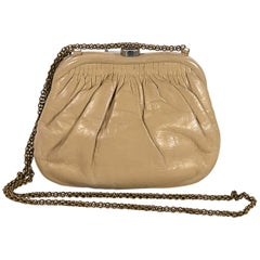 Beige Vintage Chanel Leather Crossbody Bag