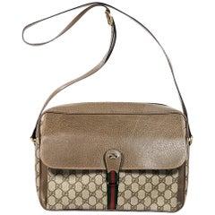 Beige Vintage Gucci Logo Messenger Bag
