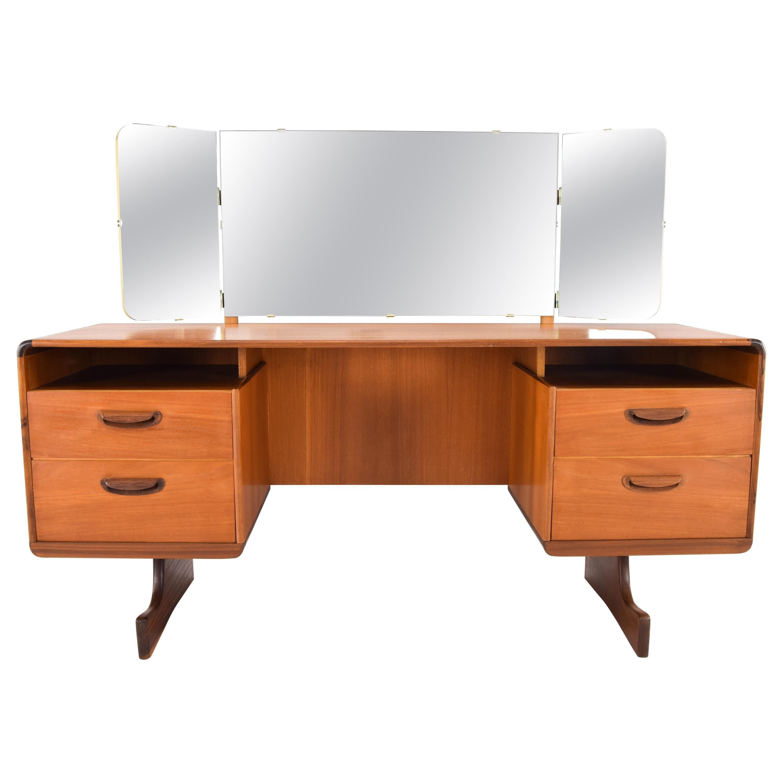 Beithcraft Mid-Century Modern Teak Triptych Mirror Dressing Table or Desk, 1960