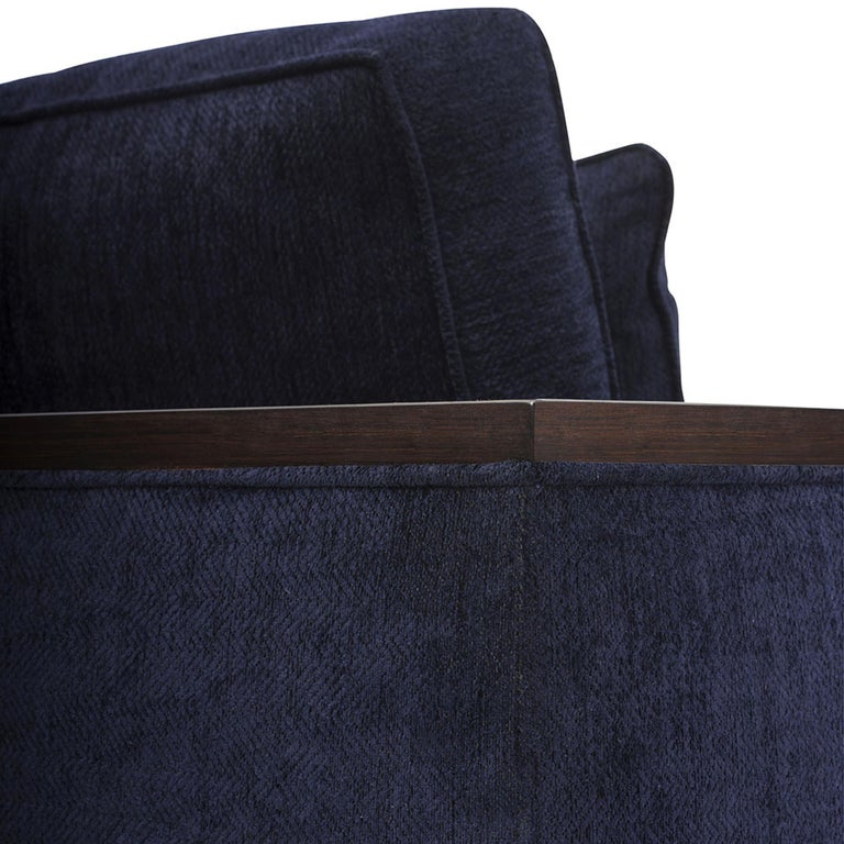 Modern Bel Air Loveseat in Chocolate and Navy by Badgley Mischka Home For Sale