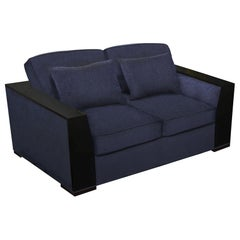 Bel Air Loveseat in Chocolate and Navy by Badgley Mischka Home