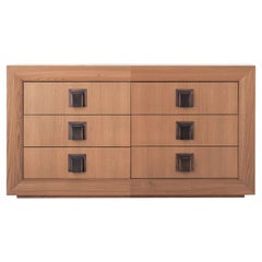 Bel Air Wooden Low Unit with Drawers and Brass Handles