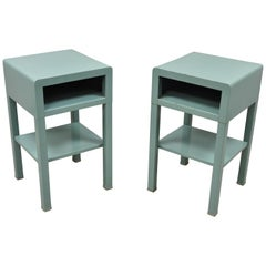 Bel Geddes for Simmons Vtg Industrial Modern Art Deco Nightstand Tables, a Pair