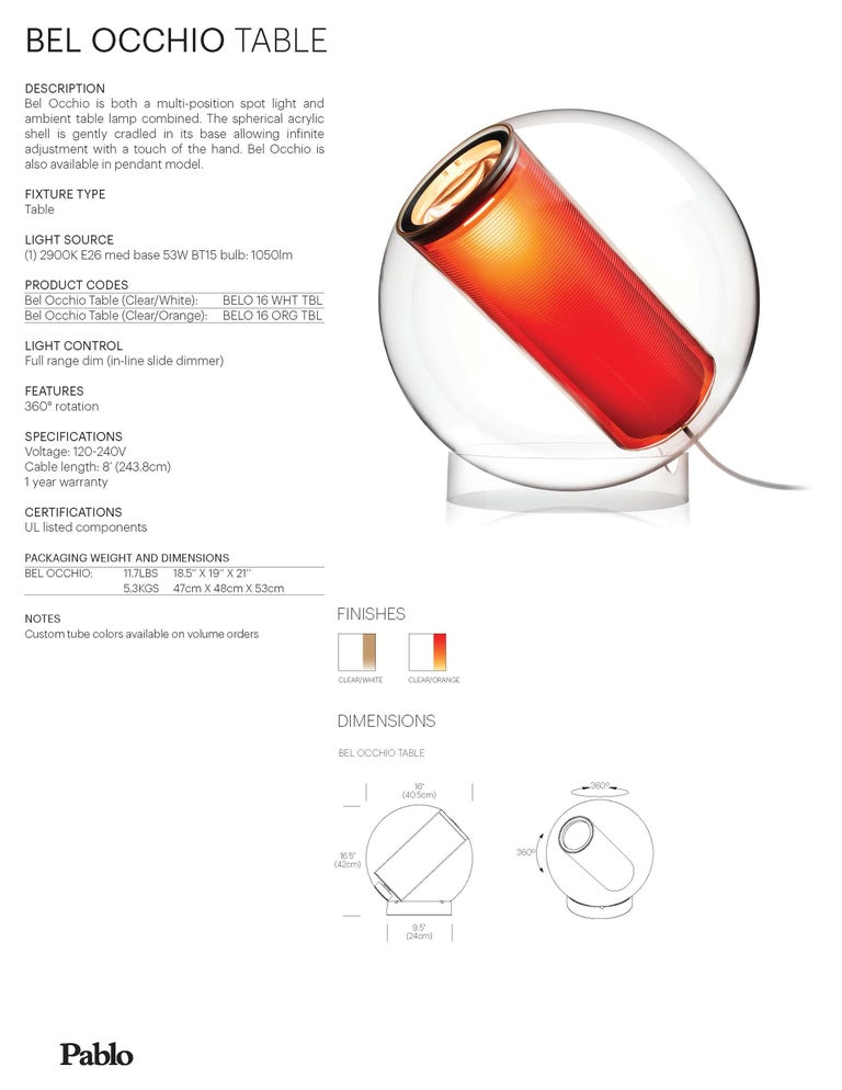 American Bel Occhio Table Lamp in Orange by Pablo Designs For Sale