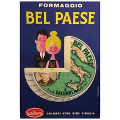 'Bel Paese Formaggio', Original Vintage Mid-1960s Poster, by Alain Gauthier