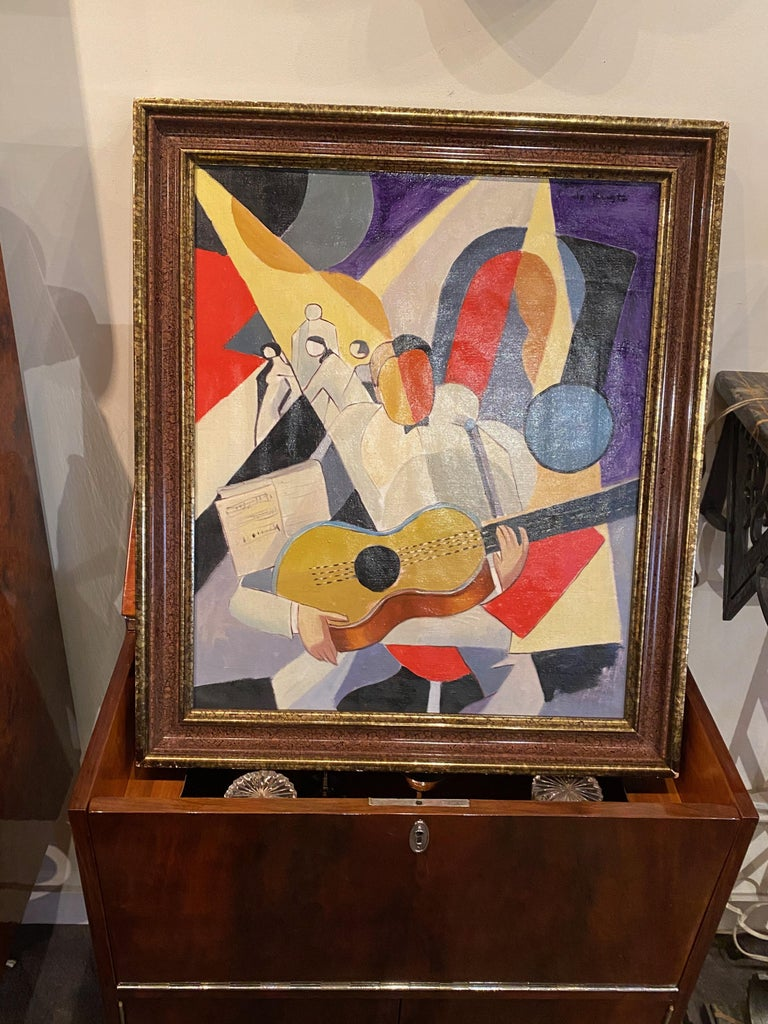 Bela De Kristo Art Deco Cubist Oil on Canvas Man Playing Guitar For Sale 5
