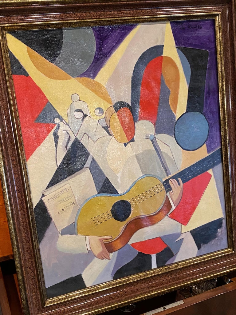 Art Deco cubist painting of guitar player by Bela De Kristo. Strong cubist style and colors, original and of the period. The image representing a solo guitarist with dancers in the background and sheet music adds to the overall feeling and artist