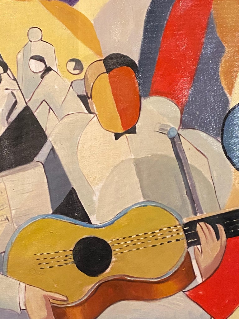 Hungarian Bela De Kristo Art Deco Cubist Oil on Canvas Man Playing Guitar For Sale